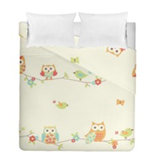 Owl Butterfly Bird Duvet Cover Double Side (full/ Double Size) by AnjaniArt