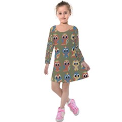Owl Pattern Illustrator Kids  Long Sleeve Velvet Dress by AnjaniArt