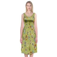 Owl Round Green Midi Sleeveless Dress