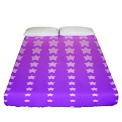 Purple And Pink Stars Fitted Sheet (queen Size) by AnjaniArt