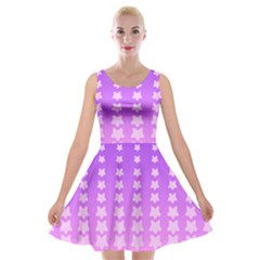 Purple And Pink Stars Line Velvet Skater Dress by AnjaniArt