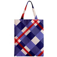 Red And Purple Plaid Zipper Classic Tote Bag by AnjaniArt