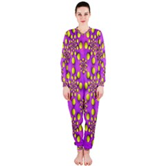 Purple Optical Illusion Wallpaper Onepiece Jumpsuit (ladies)  by AnjaniArt