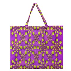 Purple Optical Illusion Wallpaper Zipper Large Tote Bag by AnjaniArt