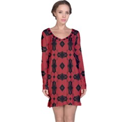 Redtree Flower Red Long Sleeve Nightdress