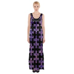 Puzzle1 Black Marble & Purple Marble Maxi Thigh Split Dress by trendistuff