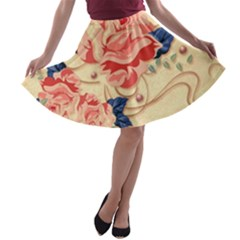 Beautiful Pink Roses A Line Skater Skirt by Brittlevirginclothing