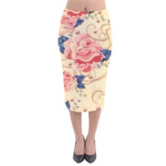 Beautiful Pink Roses Velvet Midi Pencil Skirt by Brittlevirginclothing