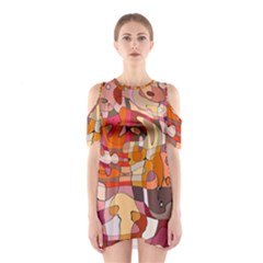 Abstract Abstraction Pattern Moder Shoulder Cutout One Piece