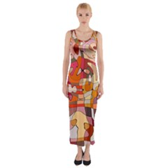 Abstract Abstraction Pattern Moder Fitted Maxi Dress