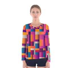 Abstract Background Geometry Blocks Women s Long Sleeve Tee by Amaryn4rt
