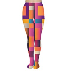 Abstract Background Geometry Blocks Women s Tights by Amaryn4rt