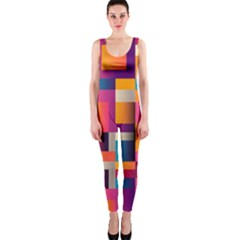 Abstract Background Geometry Blocks Onepiece Catsuit by Amaryn4rt