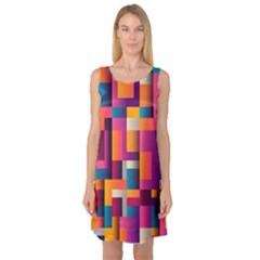 Abstract Background Geometry Blocks Sleeveless Satin Nightdress by Amaryn4rt