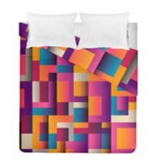 Abstract Background Geometry Blocks Duvet Cover Double Side (full/ Double Size) by Amaryn4rt
