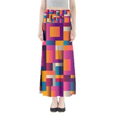 Abstract Background Geometry Blocks Maxi Skirts by Amaryn4rt