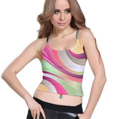 Abstract Colorful Background Wavy Spaghetti Strap Bra Top by Amaryn4rt