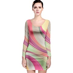 Abstract Colorful Background Wavy Long Sleeve Bodycon Dress by Amaryn4rt