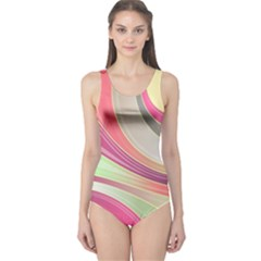 Abstract Colorful Background Wavy One Piece Swimsuit