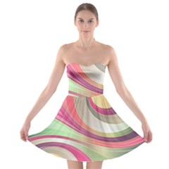 Abstract Colorful Background Wavy Strapless Bra Top Dress by Amaryn4rt