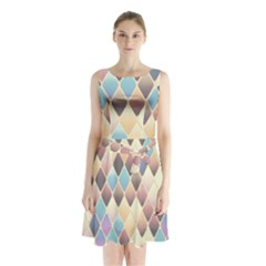 Abstract Colorful Background Tile Sleeveless Chiffon Waist Tie Dress by Amaryn4rt