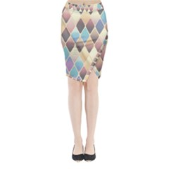 Abstract Colorful Background Tile Midi Wrap Pencil Skirt