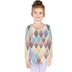 Abstract Colorful Background Tile Kids  Long Sleeve Tee