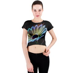 Flower Pattern Design Abstract Background Crew Neck Crop Top