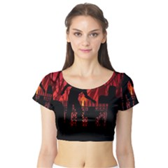 Horror Zombie Ghosts Creepy Short Sleeve Crop Top (tight Fit) by Amaryn4rt