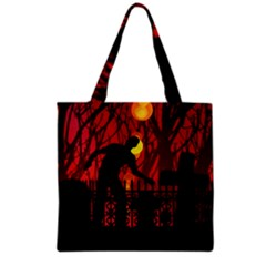 Horror Zombie Ghosts Creepy Grocery Tote Bag by Amaryn4rt