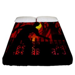 Horror Zombie Ghosts Creepy Fitted Sheet (california King Size) by Amaryn4rt