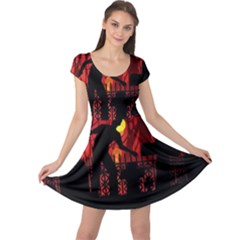 Horror Zombie Ghosts Creepy Cap Sleeve Dresses