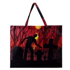 Horror Zombie Ghosts Creepy Zipper Large Tote Bag by Amaryn4rt