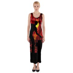 Horror Zombie Ghosts Creepy Fitted Maxi Dress