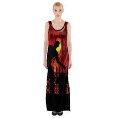 Horror Zombie Ghosts Creepy Maxi Thigh Split Dress by Amaryn4rt