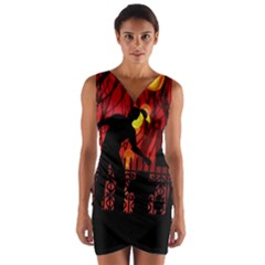 Horror Zombie Ghosts Creepy Wrap Front Bodycon Dress by Amaryn4rt