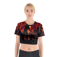 Horror Zombie Ghosts Creepy Cotton Crop Top by Amaryn4rt