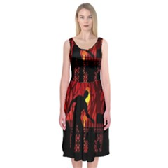 Horror Zombie Ghosts Creepy Midi Sleeveless Dress