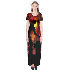 Horror Zombie Ghosts Creepy Short Sleeve Maxi Dress by Amaryn4rt