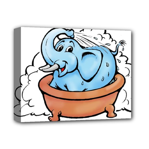 Elephant Bad Shower Deluxe Canvas 14  X 11  by Amaryn4rt