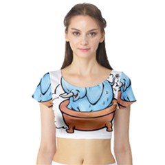 Elephant Bad Shower Short Sleeve Crop Top (tight Fit)