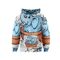Elephant Bad Shower Kids  Zipper Hoodie