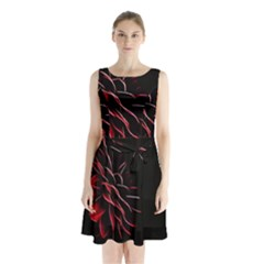 Pattern Design Abstract Background Sleeveless Chiffon Waist Tie Dress