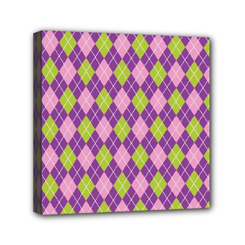 Purple Green Argyle Background Mini Canvas 6  X 6  by AnjaniArt