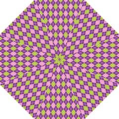 Purple Green Argyle Background Folding Umbrellas by AnjaniArt