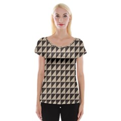 Brown Triangles Background Pattern  Women s Cap Sleeve Top