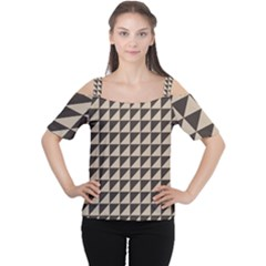 Brown Triangles Background Pattern  Women s Cutout Shoulder Tee by Amaryn4rt