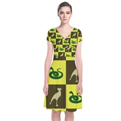 Snake Bird Short Sleeve Front Wrap Dress
