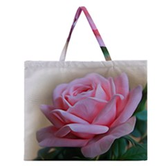 Rose Pink Flowers Pink Saturday Zipper Large Tote Bag by Amaryn4rt
