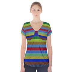 Pattern Background Short Sleeve Front Detail Top by Amaryn4rt